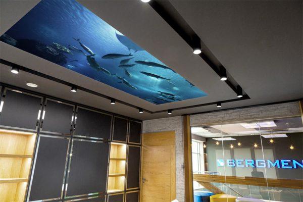 Sufit napinany podświetlony modułami LED